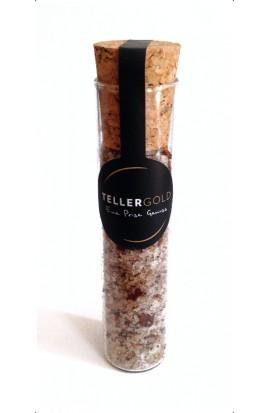Fleur de Sel mit Chili und Bourbon-Vanille im Reagenzglas