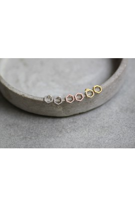 Hexagon Ohrstecker 925 Silber, klein