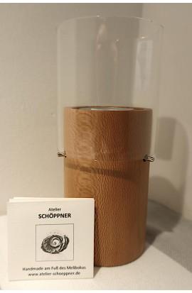 Windlicht für Teelicht mit Glaszylinder / Platanenbaum