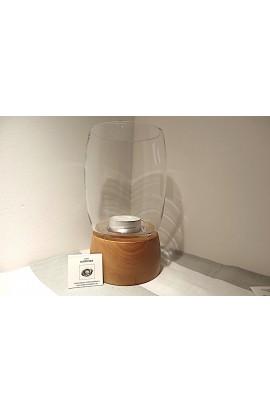 Windlicht mit Glasaufsatz, bauchig / Kirschbaumholz