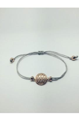 Monmente Blume des Lebens Seidenband Silber mit Rose Gold