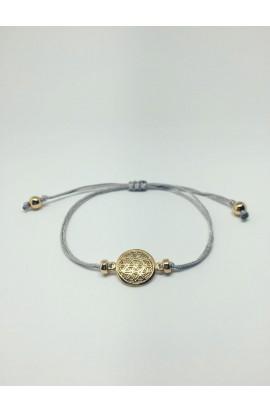 Monmente Blume des Lebens Seidenband Silber mit Gold