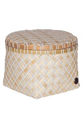 Bamboolastic Korb mit Deckel M / weiss