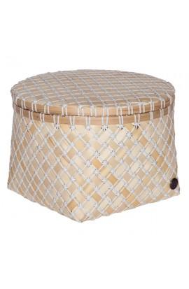 Bamboolastic Korb mit Deckel L / weiss