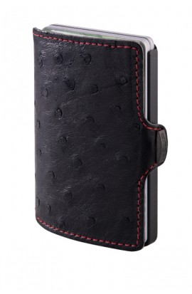 I-CLIP Edition Straußenleder Black mit roter Naht gunmetal black