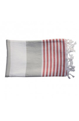 Hamam Tuch Silver/ Red